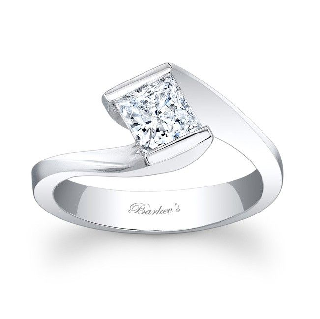 Princess Cut Solitaire Ring - 7858LW - A modern twist on a vintage bypass ring this solitaire engagement ring is a dazzler.  The channel set princess cut diamond center is captured in the split twisted ridges of the bright polished shank for a stunning showpiece.  Also available in yellow gold, 18k and Platinum.