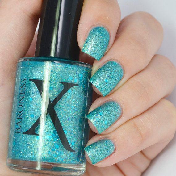 Mermaid Madness - Mermaid Nail Polish - Holographic Gold Glitter and Blue Glitter - Turquoise Polish, Teal Shimmer - Turquoise Nail Polish
