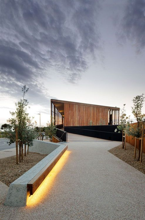Keast park by Site Office Landscape Architecture. Lot of things going on here, we like the bench lighting and also the structure itself.