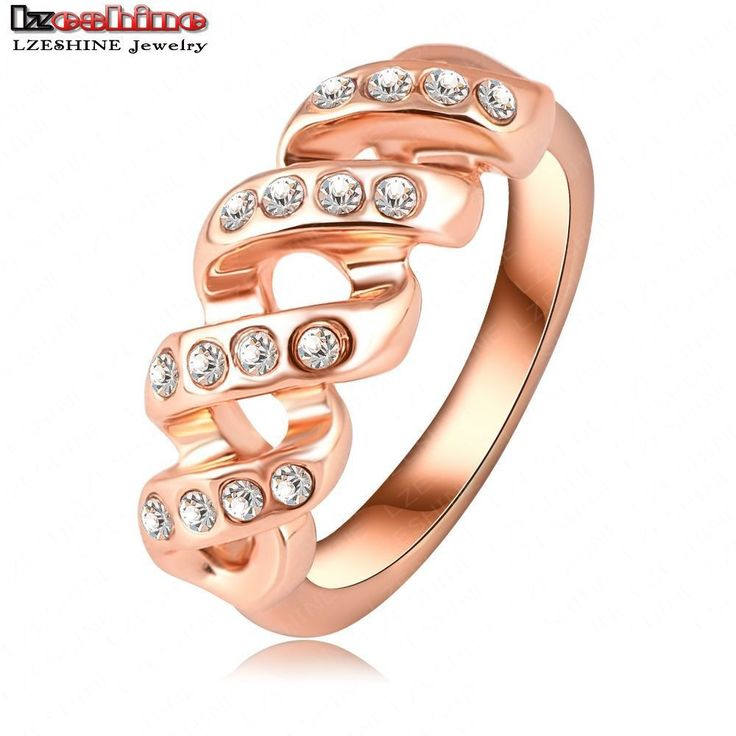 2015 New Design Screw Shape Ring Real 18K Rose Gold /Platinum Plt Austrian Crystal Engagement Rings Wedding Jewelry Ri-HQ0130