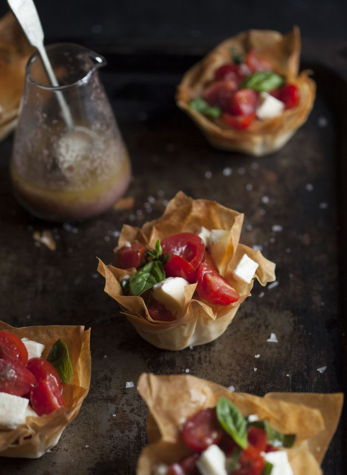 Caprese Salad in Phyllo Baskets with Olive Tapenade Vinaigrette by drizzleanddrip #Appetizer #Salad #Caprese #Phyllo