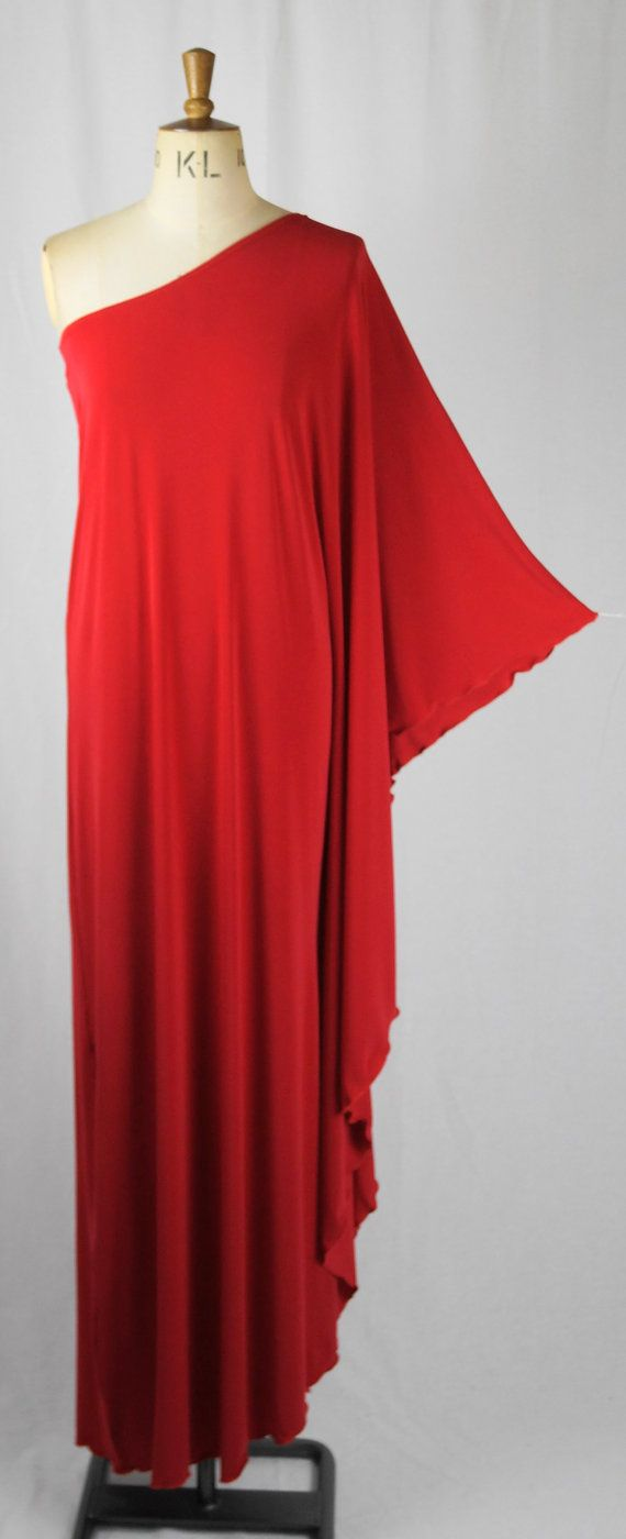 Baylis & Knight Red STUDIO 54 MAXI Long Batwing 70's Disco Glam One Shoulder Bat Wing Drape Dress Elegant (Smock)