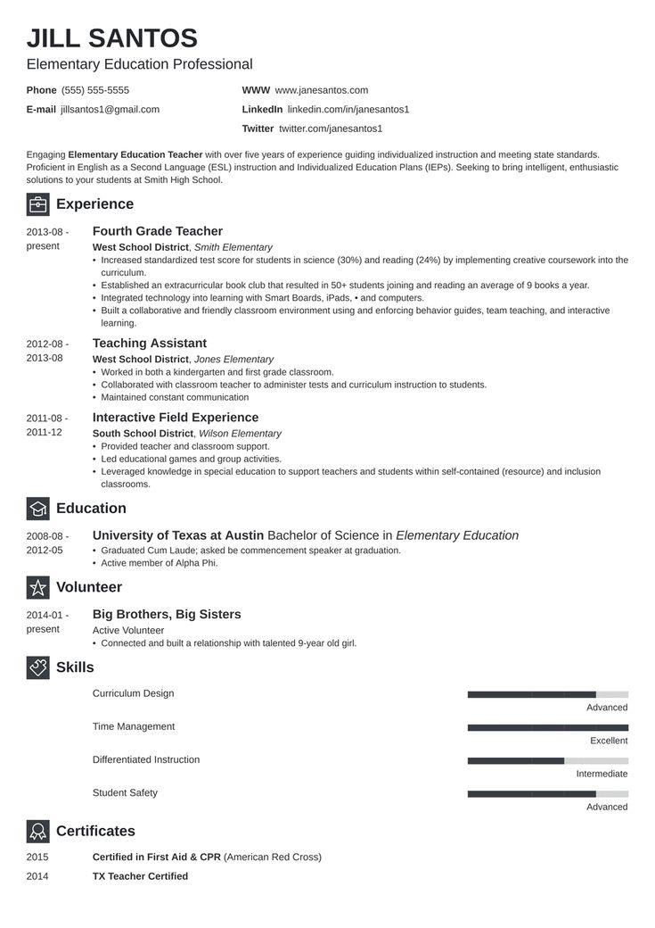 Teacher Resume Template in 2020 | Teacher resume examples ...
