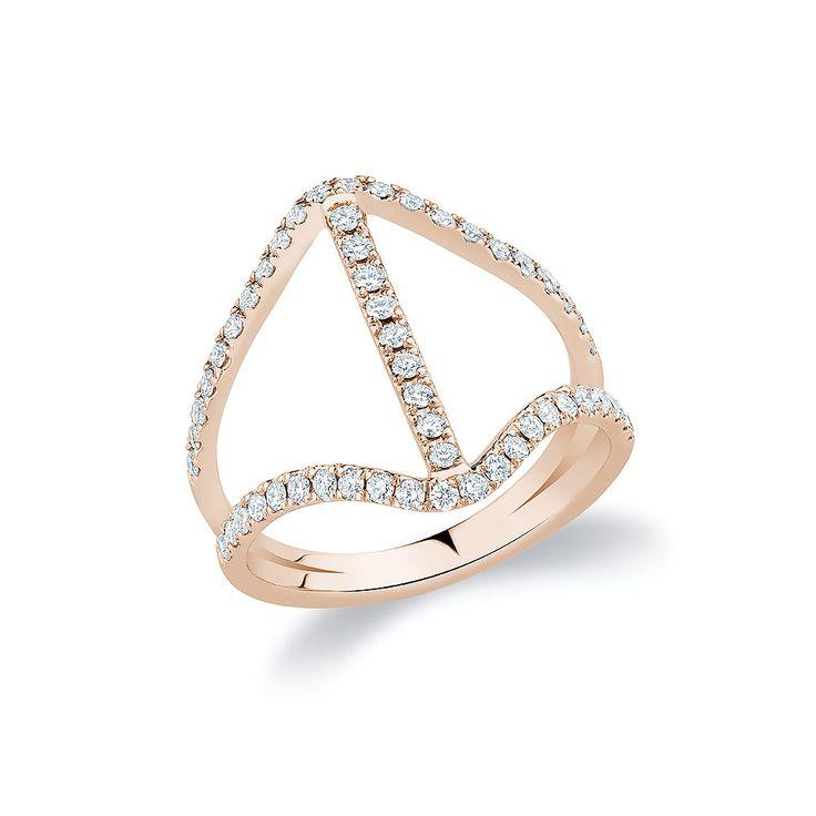 """V-Bar"" ring set with diamonds in 18K rose gold."