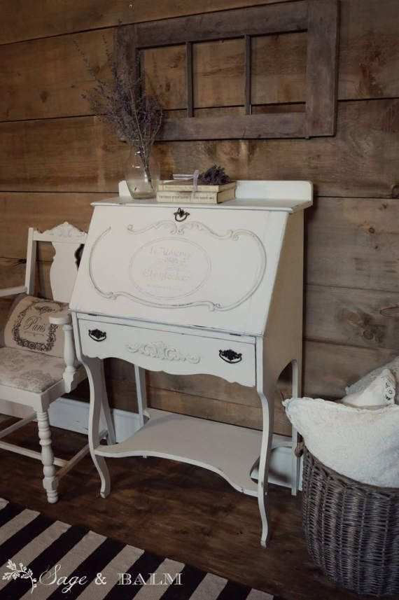 SOLD| White shabby chic painted secretary desk, off-white, antique white desk, lady's desk, distressed, chalk painted furniture, lock & key