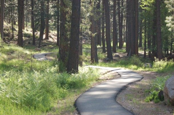 Pine Valley Campground, Utah (east of St. George) --- 151 miles --- 2 hrs., 28 min.  The paved Pine Valley Mountain River Walkway winds for 1.5 miles along the stream