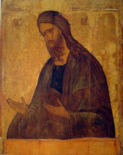 "Andrei Rublev icon ""John forerunner » The second quarter of XV century From Nicholas Pesnoshskogo Monastery near Dmitrov"