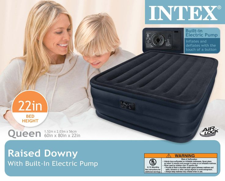 intex raised downy airbed with builtin electric pump queen