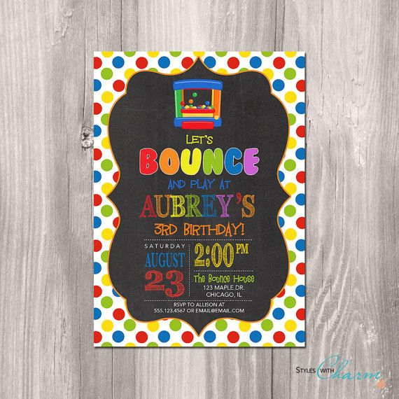 Bounce House Birthday Invitation Bounce Party by StyleswithCharm
