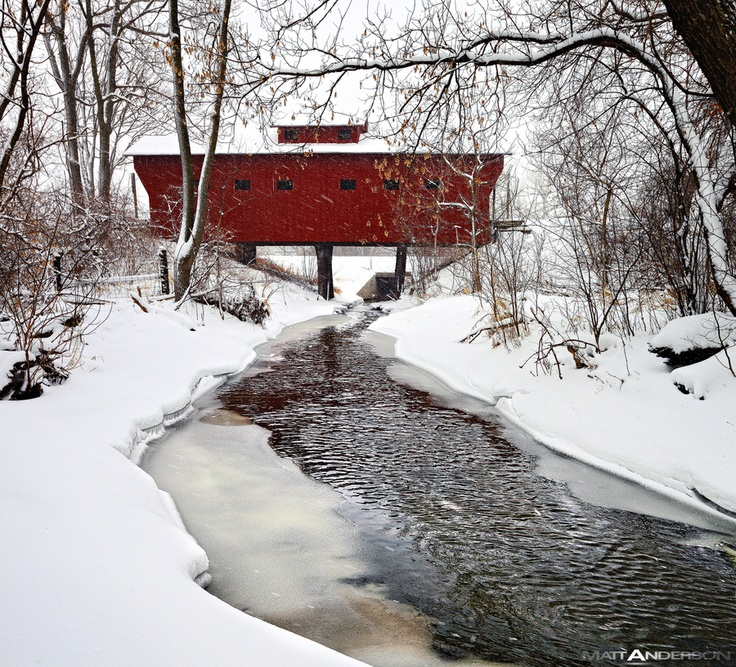A Red Wooden Bridge near Milton Janesville, Wisconsin in Rock Cou by Matt Anderson, via 500px