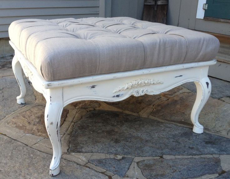 French Country Ottoman Furniture Vintage Painted French Ottoman Coffee Table In Tufted Linen
