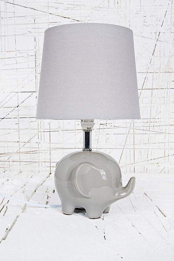 Elephant lamp from Urban Outfitters | Three ways to create an unique gender neutral nursery | gomommygo.eu