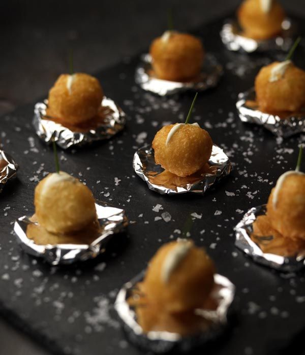 Not to be confused with potato dauphinoise, these dauphine potatoes are formed from a gloriously light choux paste base - they are deliciously crunchy and well worth the preparation time. - Martin Wishart