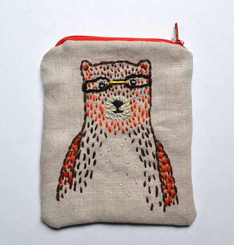 Sweet bear embroidery on zippered pouch