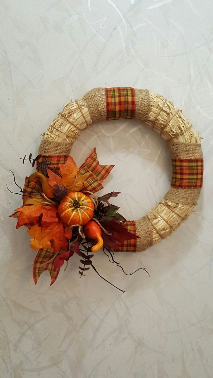 Fall Wreath with straw form...burlap string, ribbon, gords, leaves, pins and glue gun...