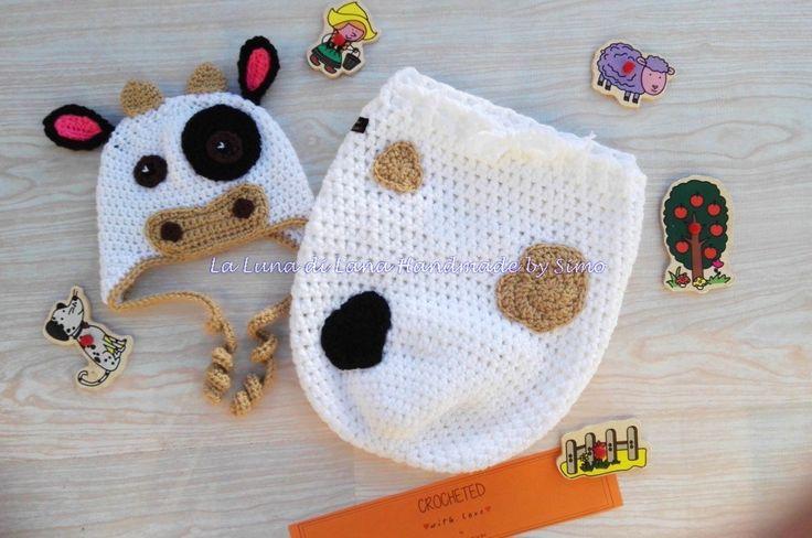 cappellino e sacco nanna coordinato  a forma di mucca, by La Luna di Lana - Handmade by Simo, 43,00 € su misshobby.com