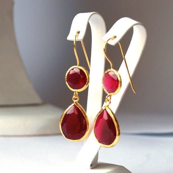 Angelina Jolie French Style Red Jade Drop Earrings by toosis, $88.00