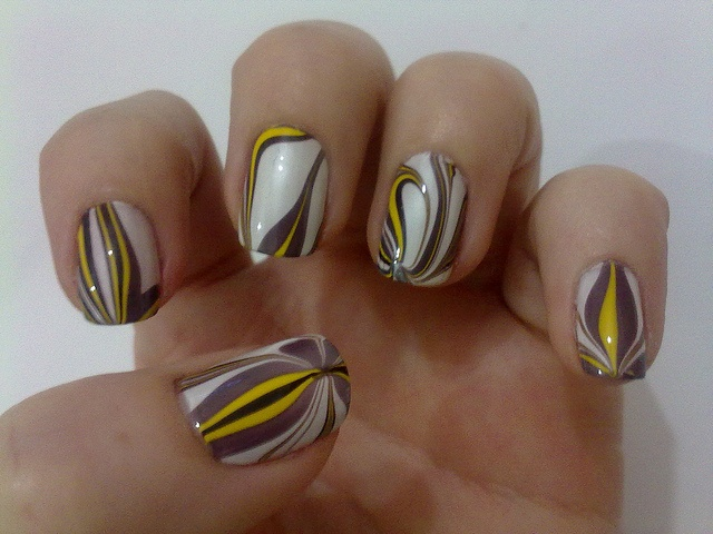 Water Marbled Manicure - Beautiful Colors!