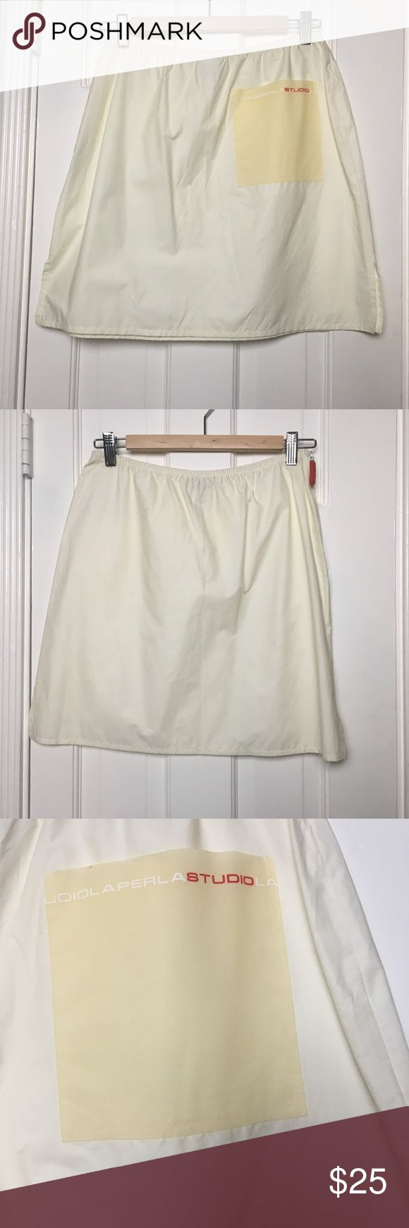 LA Perla Studio Mini Skirt sz 8 LA Perla Studio Mini Skirt sz 8 Made in: Italy Size: IT44  - US 8 Fit : A-Line Skirt, comfortable Waist: 28  Hips: 38 Length: 17 Materials: Cotton, Nylon Color: White Condition: pre-owned - good -has some tiny stains in the back #CoxyCloset  #madeinitaly #LAPerlaStudio #laperla  #skirt #miniskirt #casual #sportswear #activewear #spring #summer La Perla Skirts Mini