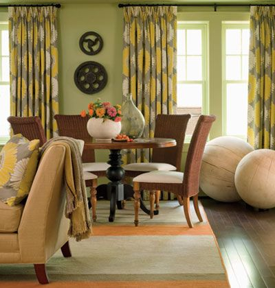 I love the yellow & gray fabric. Must find.: Games Rooms, Living Rooms, Color Schemes, Color Combos, Grey Yellow, Homes Idea, Coastal Living, Families Rooms, Bedrooms Color