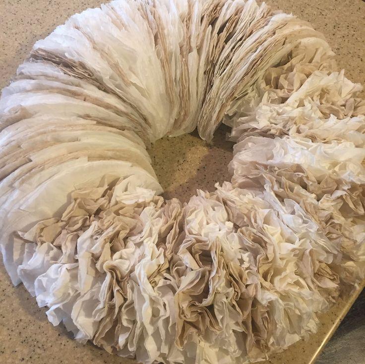 Coffee filter wreath tutorial.