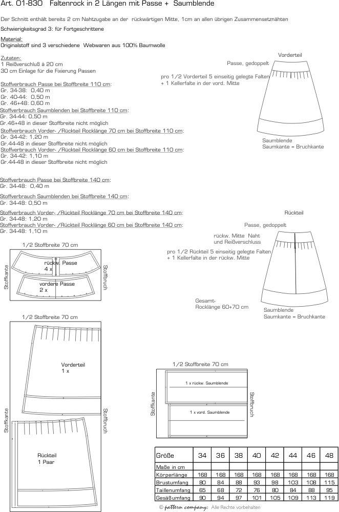 pattern company - 01-830 Faltenrock in 2 Längen (60 + 70 cm) mit Passe und Saumblende