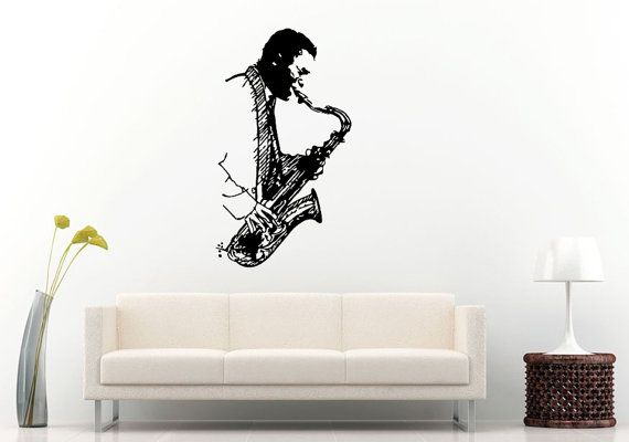 Jazz sax saxophone instrument tool man player band musical genre wall decal vinyl sticker mural room