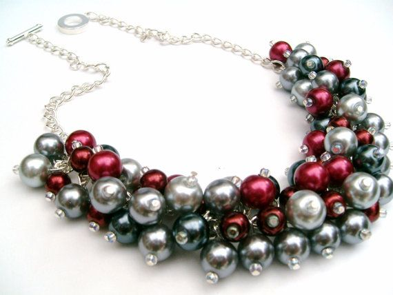 Red and Gray Cluster Necklace Winter Wedding Pearl by KIMMSMITH, $25.00