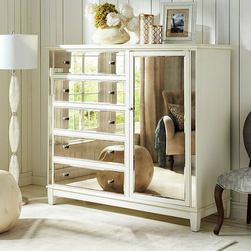 Best Hayworth Mirrored Antique White Chifforobe Leather 400 x 300