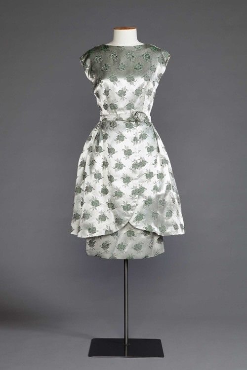 1960s satin brocade party dress