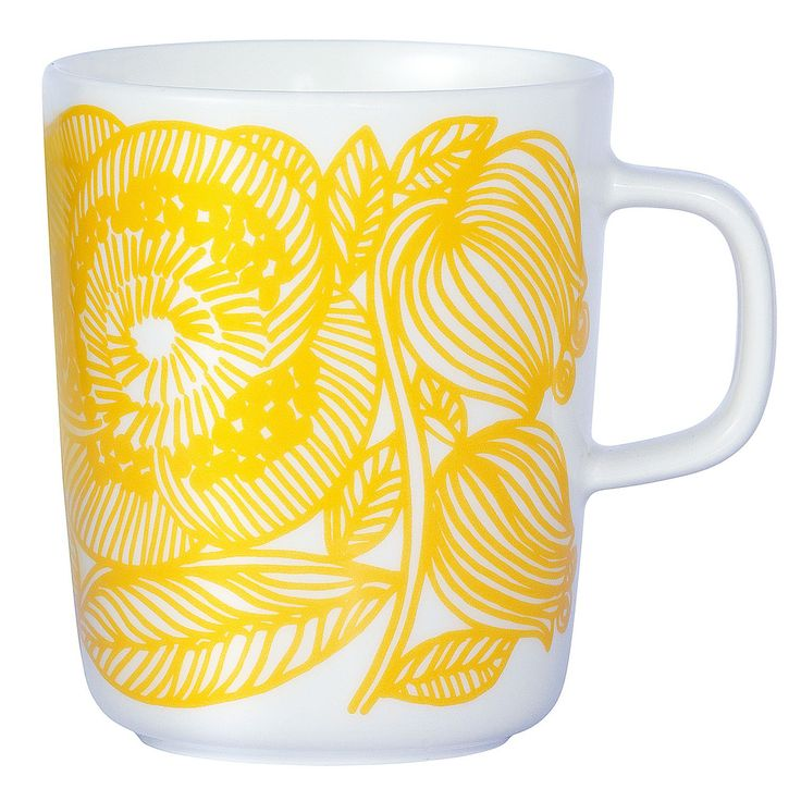 Kurjenpolvi kopp fra Marimekko, desginet av Sami Ruotsalainen. En enkel kopp med rette linjer og ikk...