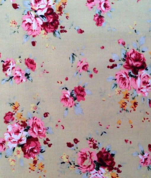 Tela de Patchwork Beige con Rosas Rojas y Rosas. Ancho 150 cm. Algodón 100%