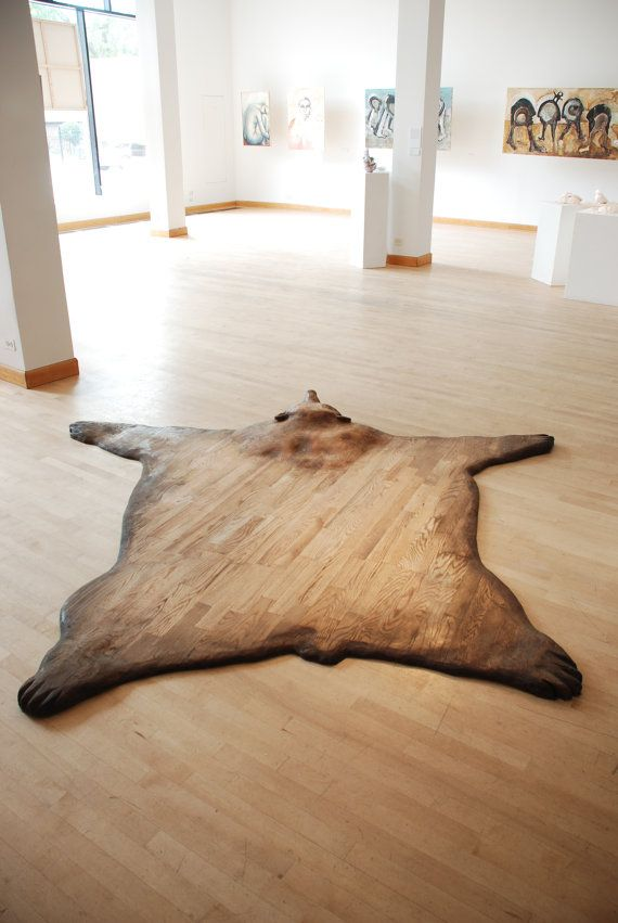 ''SUBSTITUTE'' faux bearskin rug made out of wooden flooring, wood, and stain... offered by NAMEthisDESIGN on Etsy.