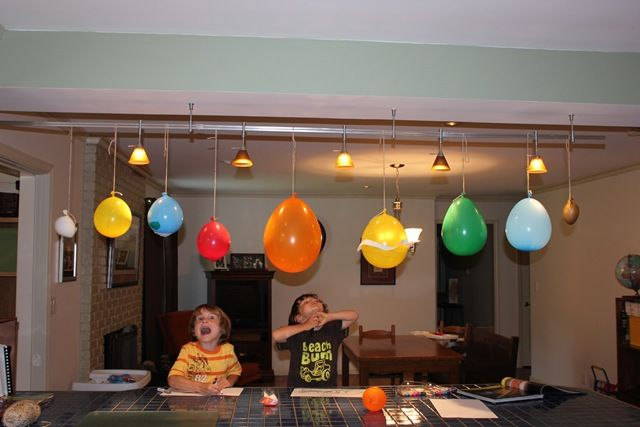 "I love the idea of making a hanging solar system in our ""classroom"" (we are homeschooling our two younger ones for preschool) Probably would use styrofoam balls instead of balloons so they will last."