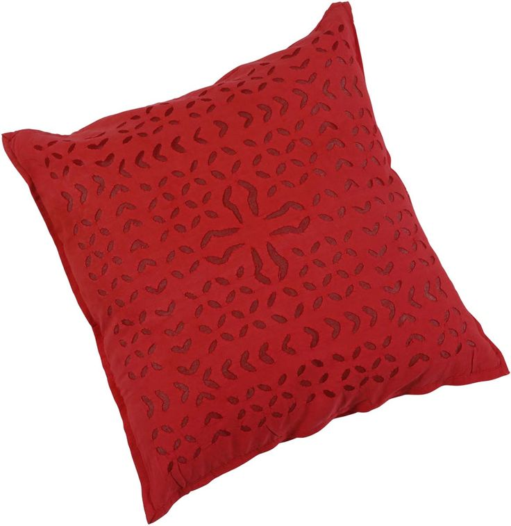 "Bulk Wholesale Red Cushion Cover in Pure Cotton – 16x16"" Hand-Stitched Throw Pillow Cover with Cut Work in Moroccan Pattern – Decorative Pillow Case for Couches / Beds / Sofas – Home Décor from India  (Set of 4)"