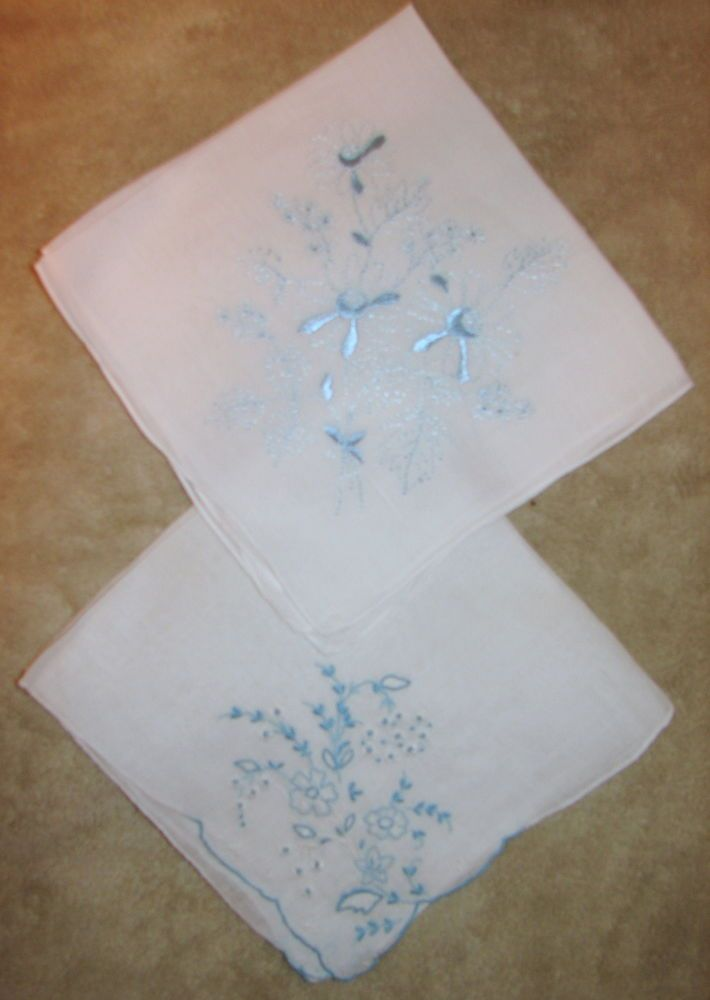 LOT OF 2 VINTAGE HANDKERCHIEFS with BLUE and WHITE Embroidered FLOWERS
