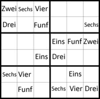 This is a set in our Sudoku puzzle series.It is the numbers 1-9 in German. We start with an easier 6 x 6 puzzle for the teacher to go over with the class, as a group. The second puzzle is a more difficult 6x6, intended for children to try on their own. The third is an easier 9x9 to challenge the students. The fourth and fifth puzzles are more challenging 9 x 9. These puzzles are a great way to work on German numbers and math pattern skills. We hope you enjoy this. (Comes in JPEG and PDF)…