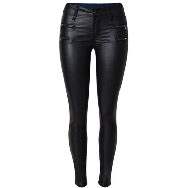 Yoins Skinny PU Pants With Zip Detail (42 CAD) ❤ liked on Polyvore featuring pants, calça, black, skinny trousers, zipper pants, super skinny pants, skinny pants and skinny leg pants