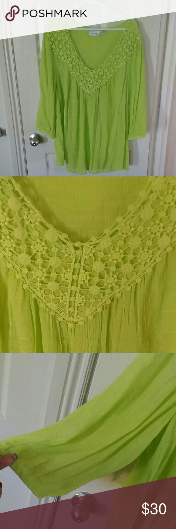 Avenue semi sheer top This is a beautiful lime green with crocheted neckline semi sheer gauze top Avenue Tops Tunics