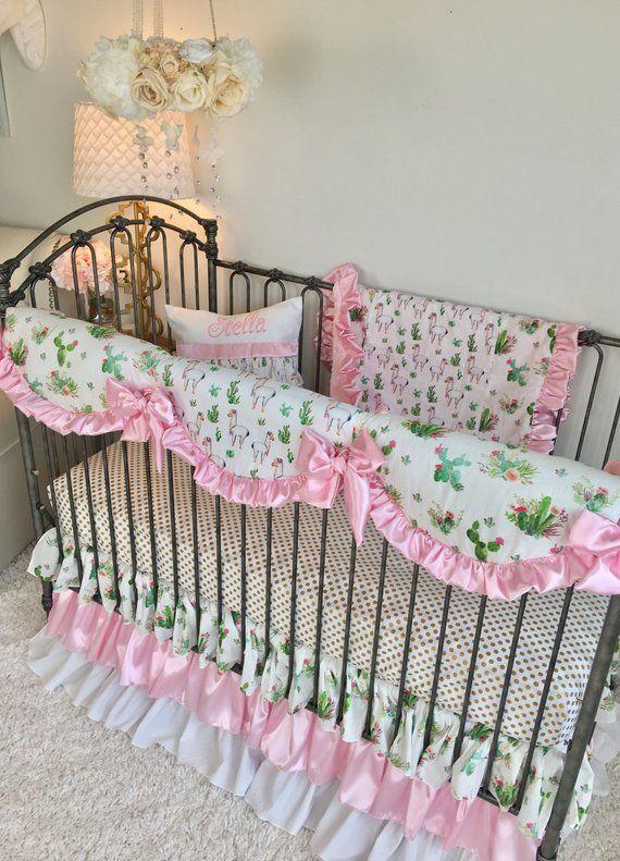 Cactus Crib Set Llama Crib Bedding Baby Pink Crib Set Gold Dot