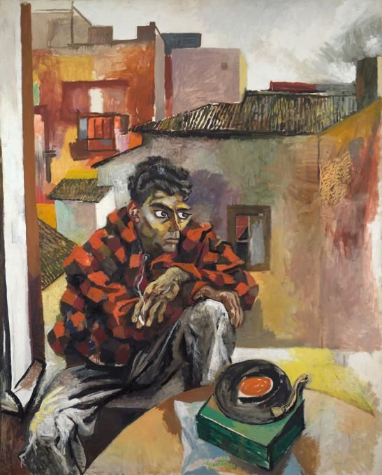 rento guttuso(1912-87), sunday calabrian working in rome (rocco with a gramophone), 1960-1961. oil on canvas, 188 х 152 cm. the pushkin state museum of fine arts, moscow, russia http://www.newpaintart.ru/artists/g/guttuso_r/sunday_calabrian_working_in_rome.php?lang=en