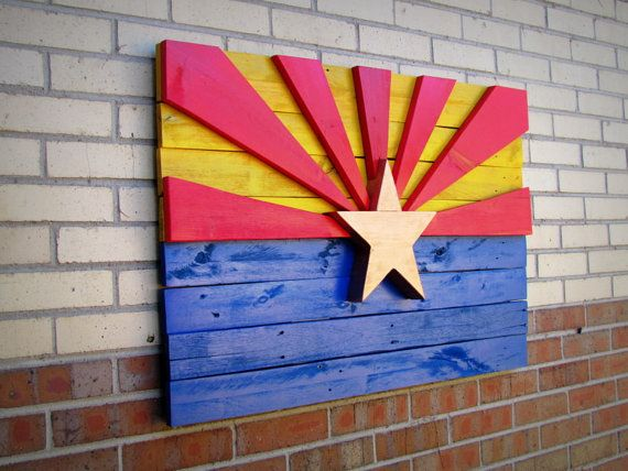 Handmade Arizona Flag Wall Art by MorninWoodCreations on Etsy, $100.00
