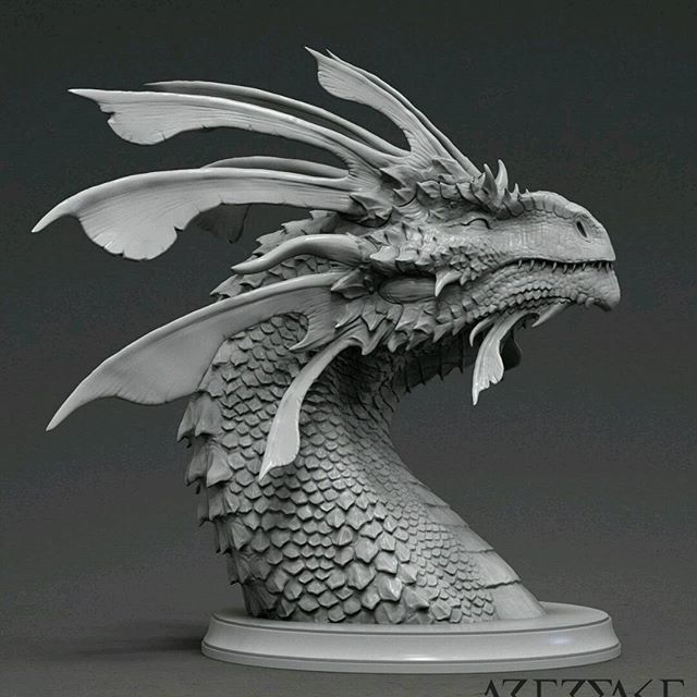 @wintonafric This is my new bust Zhaedrass the cunning. Will be available as approx 110mm and 60mm resin cast in my upcoming KickStarter.  #dragon #monster #creature #bust #sculpture #figure #ZBrush #drake #3dprint #3dart #fantasy #horns #scales #winton #wintonart #wintonafric #artefakt #resinkit #digitalart #dragons #drake #wyrm #wyvern #frills #spikes