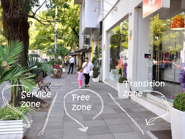 Well-designed sidewalks have three zones, helping them serve as vibrant public spaces. Photo by Luísa Schardong/EMBARQ Brasil.