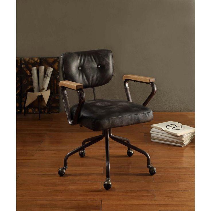 Hallie Top Grain Leather Office Chair in Vintage Black