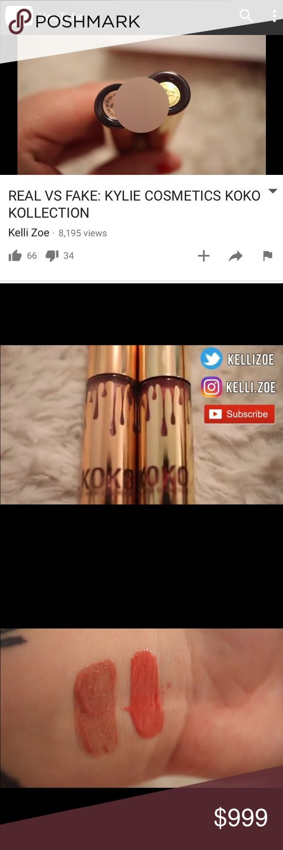 Spotting fake Kylie Holiday minis /Koko Kollection Please do you research! Ask sellers to post photos of the items reviewed in these videos! See my other listing of red flags. There are too many scammers sell cheap kits from China w/ harmful ingredients. If the seller doesn't respond to your questions, don't buy!! Google how to spot fakes in her other products too. There are lots of blogs/videos on this. To be extra savy, ask seller to have a piece of paper with their username IN the photo…