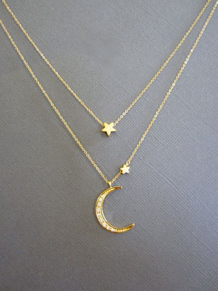 Star and Crescent Moon Necklace Layered Necklace Gold by Muse411, $62