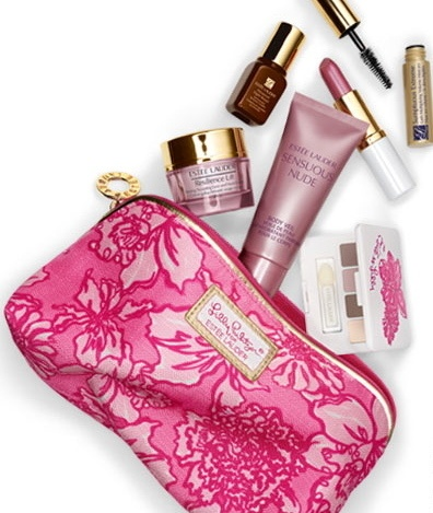 Have one to sell? Sell it yourself  Estee Lauder Lilly Pulitzer Spring 2013 Makeup Bag Gift Set $29 retail 100 7 pc pink gold  Cosmetics are in sealed bag. Brand new. Awesome gift!
