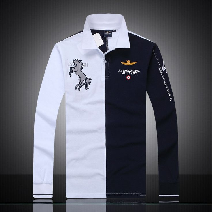 2017 summer new men's boutique embroidery breathable 100% cotton polo shirt lapel Men's Air Force One Long sleeves polo shirt