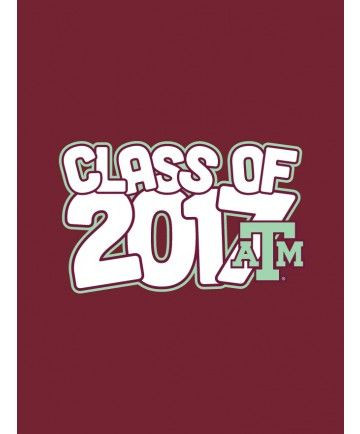 "This decal is a fun way of showing off your Aggie pride. It reads ""Class of 2017"" in white bubble letters and outlined in mint . On the bottom right hand corner is a mint block ATM."